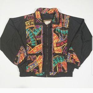 Abstract 80s 90s Unisex Jacket Vintage Windbreaker